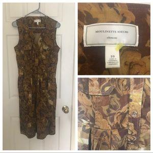 EUC Brown Floral Moulinette Soeurs Shirt Dress 10